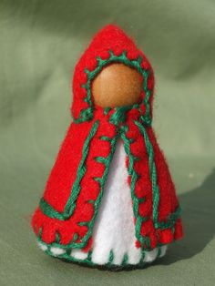 Red Hooded Waldorf Wooden Peg Gnome by TrissysTreasures on Etsy, $5.00