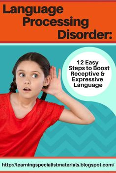 Learning Specialist and Teacher Materials - Good Sensory Learning: Language Processing Disorder: 12 Easy Steps to Boost Receptive Language Speech Therapy Activities, Speech Language Pathology, Speech And Language, Listening Activities, Language Activities, Brain Activities, Writing Activities, Teaching Resources, Teaching Ideas