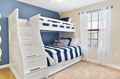 Like this bunk bed where the storage is built into the steps going up to top bunk