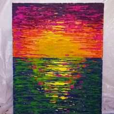 Today's project: crayon art sunset! Happy mothers day mom :)