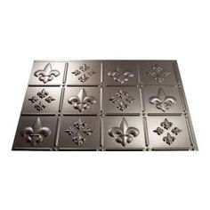 Fasade 18 in. x 24 in. Fleur de Lis Brushed Nickel Backsplash Panel-B66-29 at The Home Depot -Kitchen Backsplash-