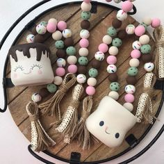 Farmhouse beads of July decor rae dunn inspired wood Diy Arts And Crafts, Bead Crafts, Fall Crafts, Crafts To Make, Crafts For Kids, Diy Crafts, Plate Crafts, Holiday Crafts, Ice Cream Decorations