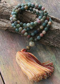 Mala necklace made of 108, 8 mm - 0.315 inch, beautiful frosted jasper gemstones. The guru bead is a jade gemstone - look4treasures on Etsy
