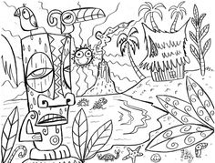 Adult Coloring Pages | tiki tony coloring page