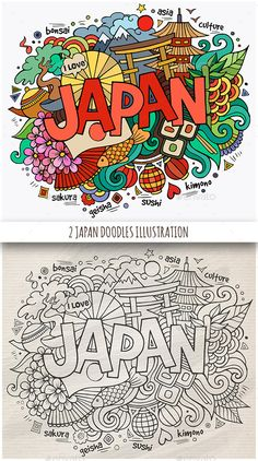 Buy 2 Japan Doodles Designs by balabolka on GraphicRiver. Japan hand lettering and doodles elements background. Vector illustration ZIP archive contains 2 vector .eps, 2 hi-re. Doodle Drawings, Doodle Art, Colouring Pages, Coloring Books, Travel Doodles, Japan Sakura, Doodle Characters, Classroom Art Projects, Kawaii Doodles