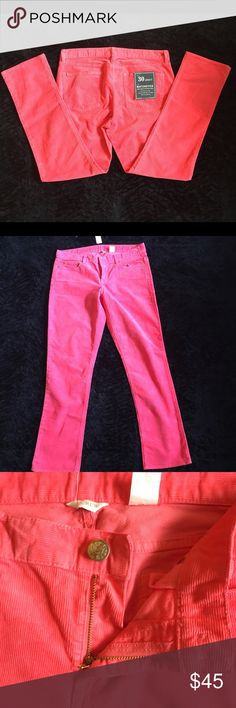 """J. crew matchstick skinny coral cord city fit 30 •True coral color J. Crew matchstick courdroy pants in 30 S.                                                                            •Cotton with a hint of stretch.Sits on hips. •Slim through hip and thigh, with a straight, narrow leg.   •waist~35"""", inseam~ 30"""", rise~9"""". J. Crew Pants Straight Leg"""