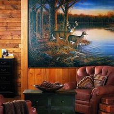Hunting Wall Murals Wallpaper | deer cabin lodge full wall mural this fantastic mural captures