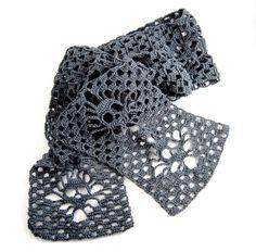 Skull Scarf Crochet Merino/Bamboo Charcoal Narrow