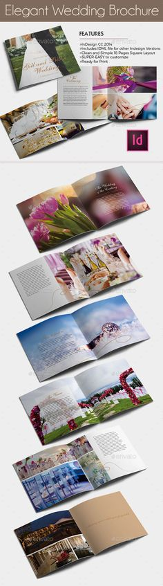 Elegant Wedding Brochure Template — InDesign INDD #photo album #template • Available here → https://graphicriver.net/item/elegant-wedding-brochure-template/12496626?ref=pxcr