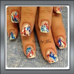 Red and blue nail foil over pink and white design #4th of July #stars #nails by yen ...thank you ma'am!