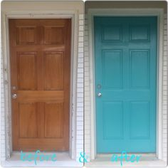 before & after  Turquoise door