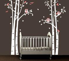 Owl Tree Girl Wall Decal Nursery Baby Wall Decal  by PurpleWall, $97.00
