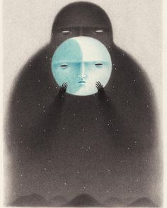 Moon face – Print illustration This is a print of an original illust… – Art Sketches Art And Illustration, Illustration Design Graphique, Black And White Illustration, Art Illustrations, Fantasy Kunst, Fantasy Art, Monochromatic Drawing, Art Sketches, Art Drawings