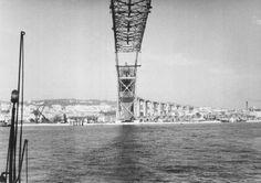 The construction began on 5 November Isaac Newton, Ponte Salazar, Black And White, Bridges, Building, Photography, Travel, Lisbon Portugal, World History