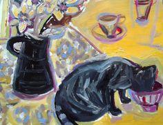 "Saatchi Art Artist Liz Williams; Painting, ""cat and cafe au lait"" #art"
