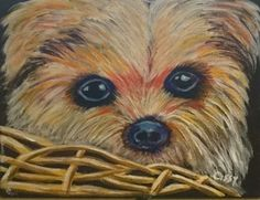 """""""Puppy in a Basket"""" by Cissy Brazil. This fun art tutorial can be found on Ginger Cook Live YouTube;https://youtu.be/sekI5VYafKw"""