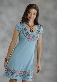 Colorful Flowers : Ladies A-line Western Dress