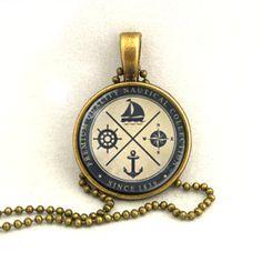Necklace Anchor Sailboat Rudder Compass