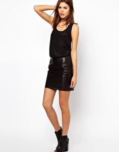 Y.A.S Racer Back Dress with Leather Skirt