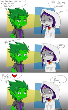 Swimsuits- Beast Boy and Raven ( Teen Titans Go!) by MESS-Anime-Artist.deviantart.com on @deviantART