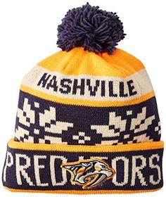 297c970aef2c27 Nashville Predators NHL Reebok Face-Off Snowflake Cuffed Knit Winter Hat w/  Pom