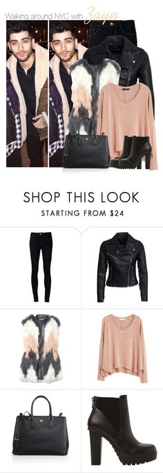 """· Walking around NYC with Zayn ·"" by zaynismybaex ❤ liked on Polyvore featuring Ström, New Look, Rebecca Taylor, MANGO, Prada, Steve Madden, OneDirection, zaynmalik, onedirectionsets and onedirectionfamily"