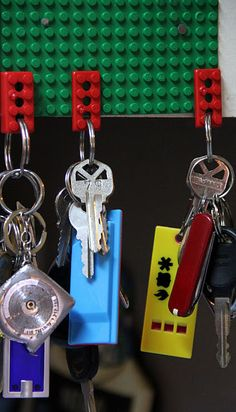 Add a lego to your keys to create a super cool key holder. Why didn't I think of this???