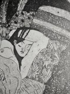 GRAVURE / EAU-FORTE / Collection BigNana / Jeune femme et son hérisson détail 2    https://www.etsy.com/fr/shop/CFTurcas