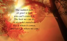 The saddest part of grief is ...