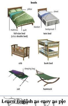 types of beds, #englishvocabulary