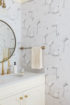 For a pop of quirky design, Steven installed flamingo wallpaper in the jewel box powder room. Flamingo Wallpaper, Bathroom Wallpaper, Grey Wallpaper, Cole And Son Wallpaper, Powder Room Design, Downstairs Toilet, Diy Bathroom Remodel, Bathroom Ideas, Monochrom