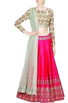 Little lady Women\'s Lehenga Choli (adLehenga_pink blackron blue_Free Size)
