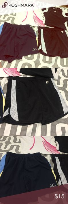 Multi brand size XS/S athletic bundle! Under Armour black/white compression, medium but runs like a small. Pink adidas athletic tank size small. Mizuno running shorts like new navy size small. Black and white XS Fula athletic shorts. Under Armour Shorts
