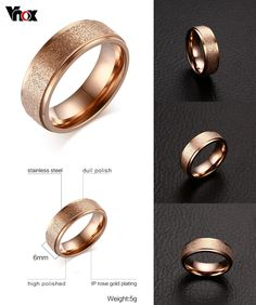 [Visit to Buy] Vnox Fashion Rose Gold-Color Rings For Women Wedding Engagement Ring Sand Blasted Stainless Steel Jewelry #Advertisement