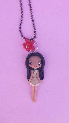 Pocahontas polymer clay necklace fimo by Artmary2 on Etsy, €12.00