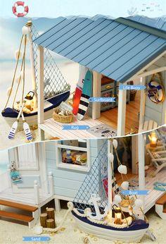 CuteRoom Caribbean DIY Dollhouse Miniature Kit With Light Music Motor Miniature Dollhouse Furniture, Dollhouse Kits, Miniature Rooms, Dollhouse Miniatures, Putz Houses, Doll Houses, Craft Museum, Light Music, Diy Arts And Crafts