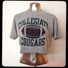 collegiate crop top tee collegiate cougars football cropped tee. wide and drapey. by Champion Urban Outfitters Tops Crop Tops