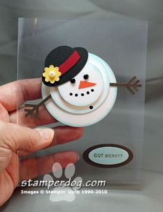 I love snowmen!  This one using clear window sheets.  Greeting hiding on inside bottom layer.
