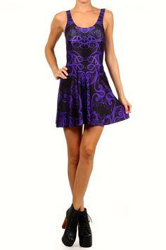 Purple Trippin' Meowt Skater Dress from POPRAGEOUS Cute but not worth $95!