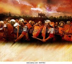 A roman battlefield charge - Stock Image