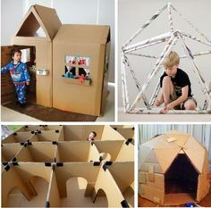 12 diy indoor play house project for kids from kids activities blog.  Save your cardboard and newspaper and check out idea numbers 1-4!