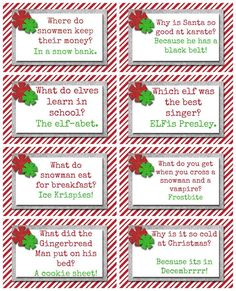 10 elf on the shelf ideas and Free Christmas printable for each day. These a great Christmas riddles. Christmas Jokes For Kids, Funny Christmas Jokes, Christmas Games, Christmas Printables, Christmas Humor, Winter Christmas, All Things Christmas, Christmas Holidays, Christmas Crafts
