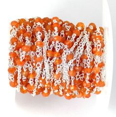 5 Feet Lovely Carnelian Faceted 925 Sterling Silver Plated 3mm Gemstone Beads