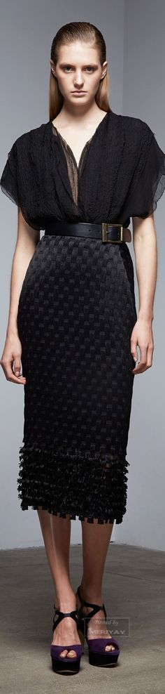 @roressclothes clothing ideas #women fashion black maxi dress Donna Karan.Pre-Fall 2015.
