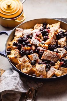 Le Creuset Braiser in Indigo Blueberry Baked French Toast Casserole by @PeanutButterPlusChocolate on Instagram