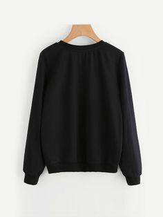 Cute Sweatshirts, Printed Sweatshirts, Hoodies, Black Sweaters, Pullover Sweaters, Fashion Outfits, Long Sleeve, Sleeves, Women