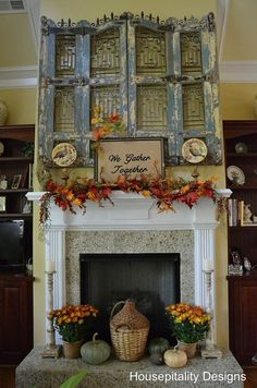 Fall mantel - love the Gather Together sign monogrammed on burlap (probably not cheap, and doesn't look easy either, but it sure is pretty.)