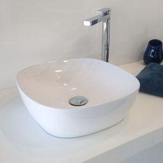 Vasque à poser, delicate, blanche, 37.5x37.5 cm