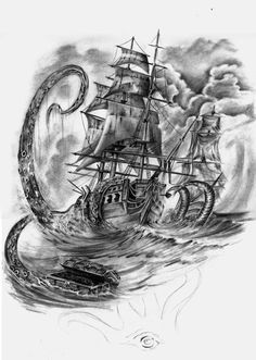 :: Pirates vs Kraken by nusho on DeviantArt - New-school sleeve design… Big thanx to WillemXSM for inspiration and roses! Sea Tattoo, Ocean Tattoos, Kracken Tattoo, Octopus Tattoo Design, Octopus Tattoos, Tattoo Sleeve Designs, Sleeve Tattoos, Pirate Tattoo Sleeve, Pirate Ship Drawing
