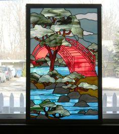 Stained Glass Panel Bridge of Tranquility Window Art by GailsGlassGarden on Etsy https://www.etsy.com/listing/68183785/stained-glass-panel-bridge-of